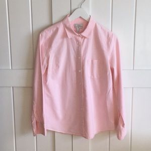 J. Crew Striped Oxford Boy Shirt in Bright Pink